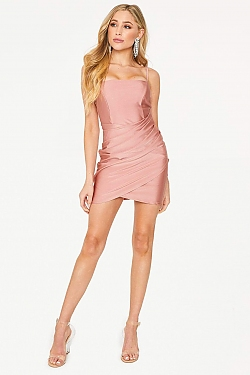 See Gathered Front Mini Cami Dress in Mauve