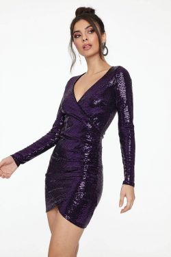 See Disco Long Sleeve Gathered Side Mini Dress in Purple