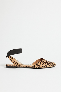 See Black Suede Pointed Toe Flat in Cheetah
