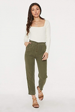 See Relaxed Button Front Pant in Olive in Olive