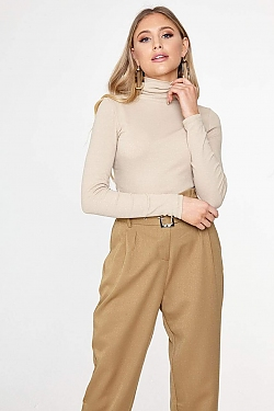 See Tight Ribbed Knit Turtleneck in Desert