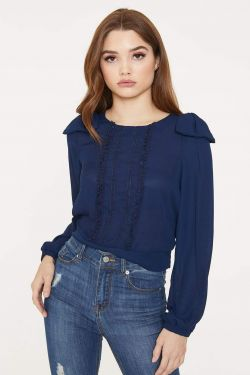 See Shoulder Bow Long Sleeve Blouse in Navy