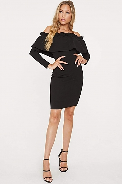See Off-The-Shoulder Flounce Long Sleeved Dress in Black