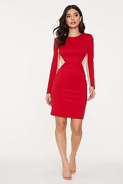 See Sheer Mesh Cut-Out Long Sleeve Bodycon Dress in Red