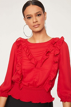 See Ruffle Front Blouse in Red