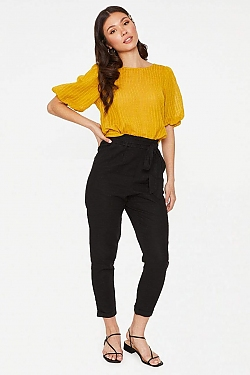 See High Waisted Tied Linen Pant in Khaki in Black