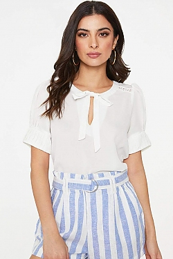 See Tied Neck Blouse WIth Pleated Sleeves in Navy in Off White