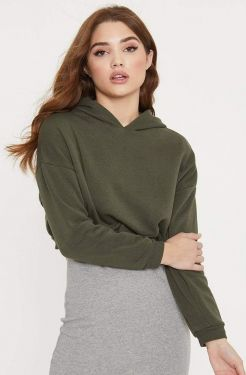 See Perfect Cropped Hoodie in Olive
