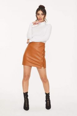 See Tie Up Slit Faux Leather Skirt in Medium Cognac 2