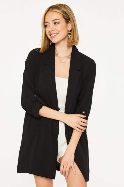 See Button Cuff Extended Blazer in Black