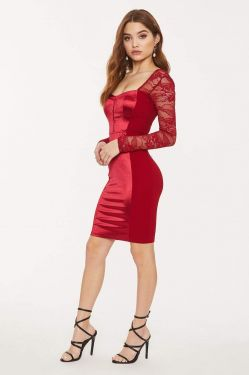 See Lace Long Sleeve Sweetheart Contrast Panel Dress in Burgundy