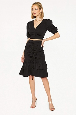 See Tied Up Ruched Skirt in Black
