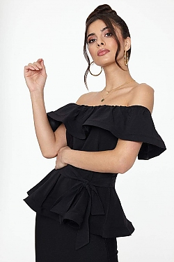 See Off The Shoulder Flounce Top in Black