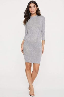 See Long Sleeve Dress With Back Keyhole Detail in Heather Grey