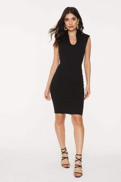 See Sleeveless Princess Seam Bodycon Dress in Black
