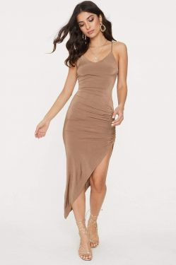 See Asymmetrical Ruched Slit Cami Dress in Mocha