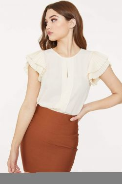 See Pleated Blouse with Pleated Ruffle Frill Sleeve in Champagne