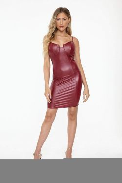 See Bodycon Dress With Built In Bra Detail in Red Wine