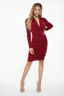 See Ruched Long Sleeve Plunging Neck Midi Dress in Burgundy
