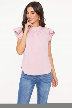 See Button Shoulder Ruffle Sleeve Blouse in Blush