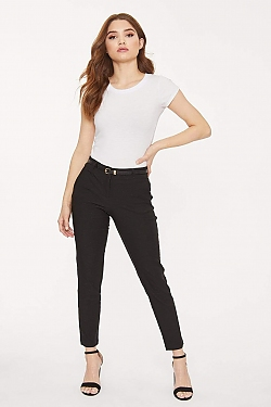 See Belted Fitted Cropped Trouser in Black