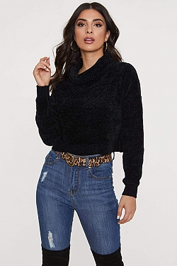 See Chenille Roll Neck Cropped Sweater in Black