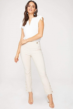 See Button Strap Skinny Trouser in Sand