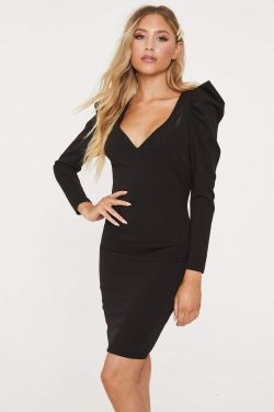 See Sweetheart Pointed Puff Sleeve Dress in Black