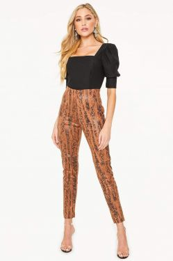 See Suede Pant with Snake Sheen Print in Camel