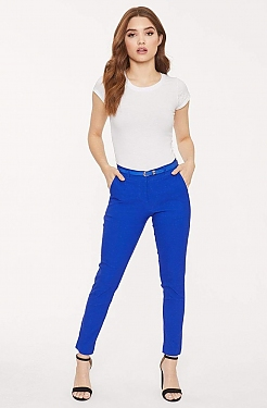 See Belted Fitted Cropped Trouser in Royal