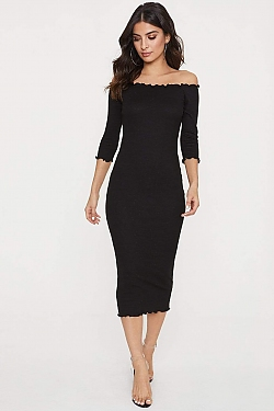 See Off The Shoulder Long Sleeve Lettuce Edge Dress in Black