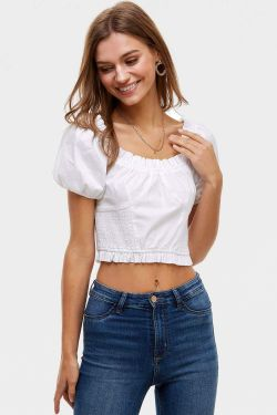 See Puff Sleeve Ruffle Trimmed Blouse in White