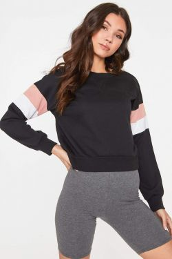 See Striped Sleeve Relaxed Pull Over in Black