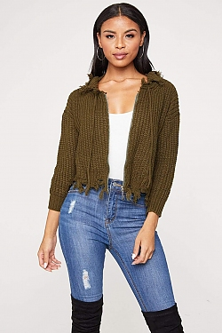 See Distressed Fisherman Knit Zip Sweater in Olive