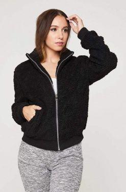 See Faux Fur Zip Up Jacket in Black