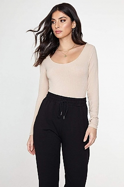 See Basic Long Sleeve Ribbed Bodysuit in Desert