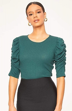 See Ruched Cascade Sleeve Knit Blouse in Hunter Green