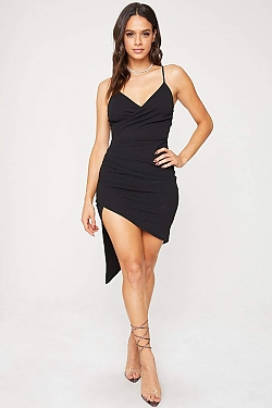 See Asymmetrical Hi-Lo Slit Mini Dress in Black