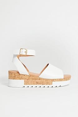 See Leopard Cork Platform Sandal in White