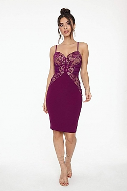 See Lace Detailed Bustier Midi Dress in Deep Plum/Nude