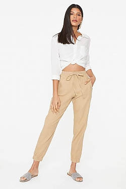 See Relaxed Linen Cropped Pant in Black in Khaki