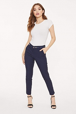 See Belted Fitted Cropped Trouser in Navy