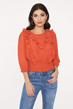 See Ruffle Front Blouse in Rust
