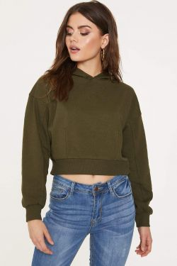 See Cropped Fitted Hoodie in Olive