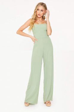 See Tied Back Jumpsuit in Sage