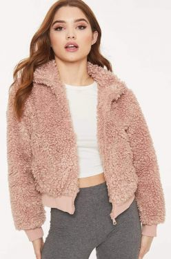 See Cozy Teddy Fleece Jacket in Mauve
