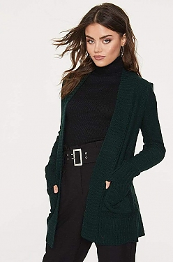 See Open Front Knit Cardigan in Hunter Green