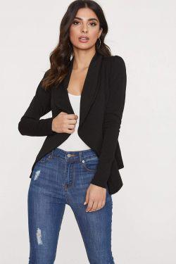 See Flowy Open Shawl Collar Blazer in Black