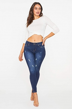 See Classic Distressed Ankle Grazer Skinny Jean in Dark Denim
