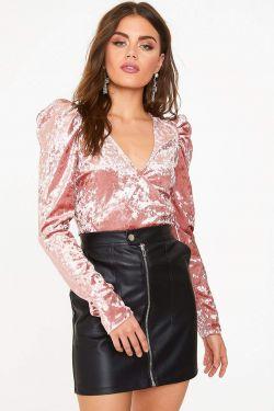See Crushed Velvet Puff Sleeve Top in Dark Pink